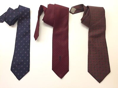 Lot Of 3 Vintage Men's Ties Neckties Christian Dior YSL Rare Designer Authentic