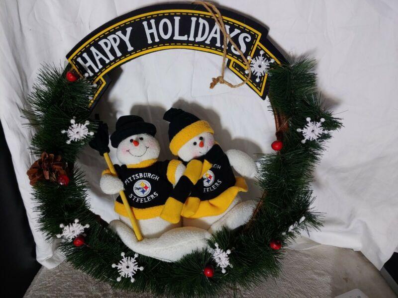 "Pittsburgh Steelers Christmas Snowman Wreath 20"" NFL"