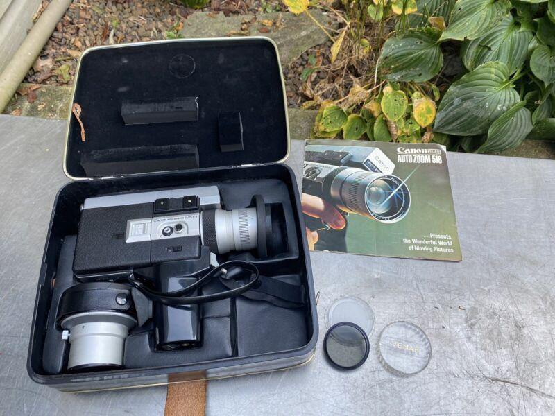 Vintage Canon Zoom 518 Super 8 Film Camera Case Lens Tele Converter