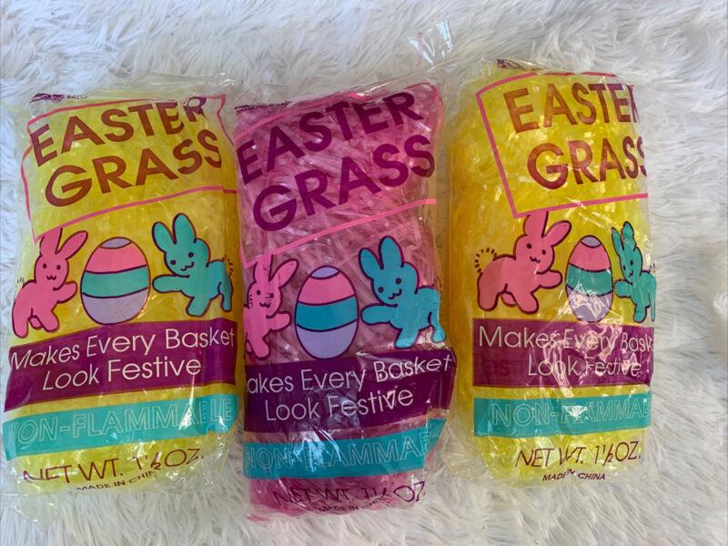LOT Of 3 Easter Grass Yellow Pink Basket Filler Egg Hunt Shinny