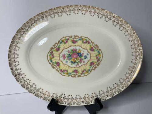 """Vintage American Limoges Delight 22k Gold Trimmed 11 1/2"""" Platter"""