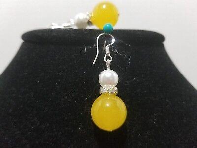 Yellow Jade Crystal Pearl Earrings Sterling Silver Fish Hook     Z13