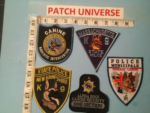 LOT OF 5  DIFFERENT  K-9 SHOULDER PATCHES   G022