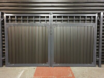 WROUGHT IRON DOUBLE DRIVEWAY GATES ANTHRACITE GREY SPECIAL