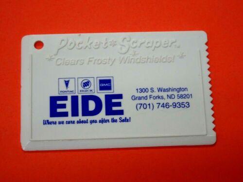 """Vintage Grand Forks ND Eide Motors Pocket Plastic Ice Scraper 1970s 3.5 x 2.5"""""""