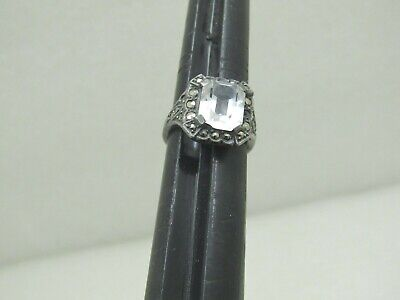 1940s Jewelry Styles and History Vintage Sterling Marcasite Ring, Clear Stone, Size 5.25, 4.55gr. 1940's-1950's $49.99 AT vintagedancer.com