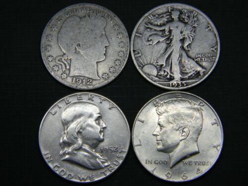 Silver Half Dollar Type Set Barber Walking Liberty Franklin Kennedy Lot 2