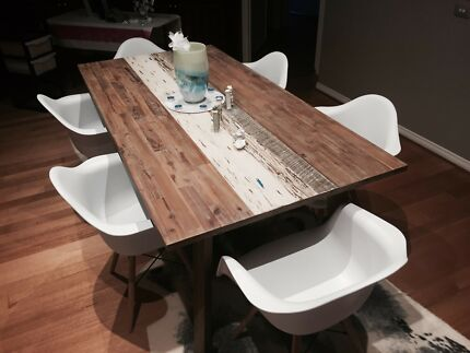 6 Seater Timber Boat Dining Table For Sale
