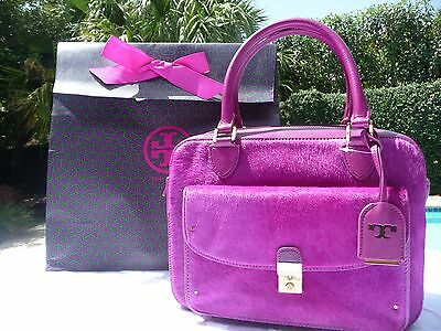 TORY BURCH PRISCILLA CALF HAIR SATCHEL-FUCHSIA- 32139564- MINT/GIFT BAG NWT $635