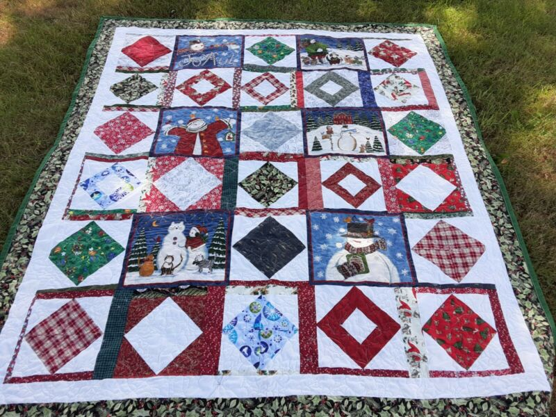 HANDMADE FUN CHRISTMAS QUILT PROFESSIONALLY QUILTED