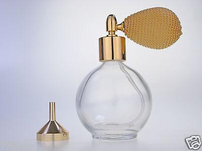 78ml Redondo Frasco de Perfume Atomizador Dorado con Perilla Bomba, Embudo &