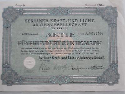 Aktie Berliner Kraft-und Licht 1931 Aktiengesellschaft.