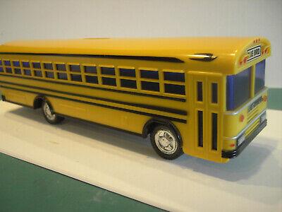 "Vintage 10"" Yellow Plastic Blue Bird School Bus #330 Coin Bank-1989"