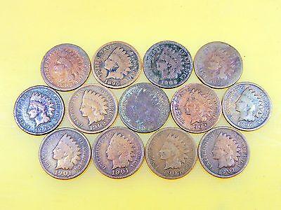 13 Indian Head Pennies Cents 1881   1906  Various  Check Description For Content