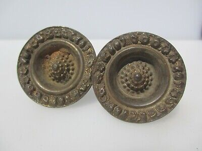 Vintage Brass Cabinet Knob Drawer Handle Pull Plate Old Cupboard Antique £5each
