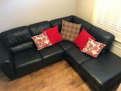 black leather corner sofa used (cushions NOT included)