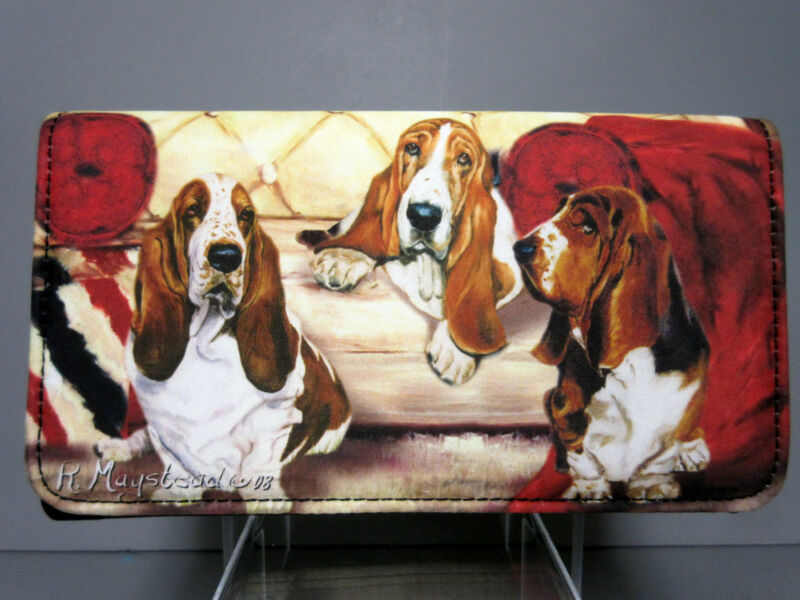 New Basset Hound Wallet By Ruth Maystead Check Book Wallets Dogs Free Shipping