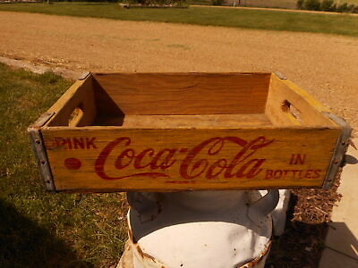 Yellow Coke Coca Cola Drink Pop Crate wood Vintage Red Farmhouse Flea Market