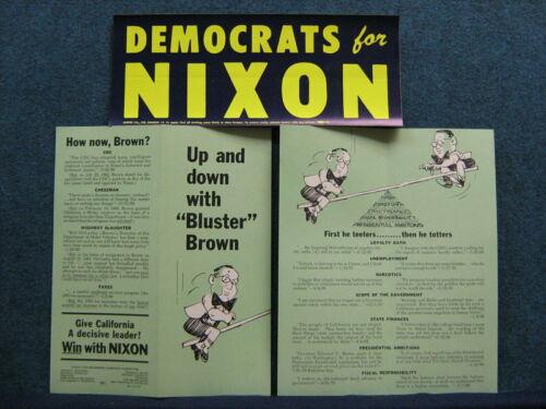 1962 Nixon For Gov of Calif Folder & Bumper Sticker- Lost To Pat Brown 2 items