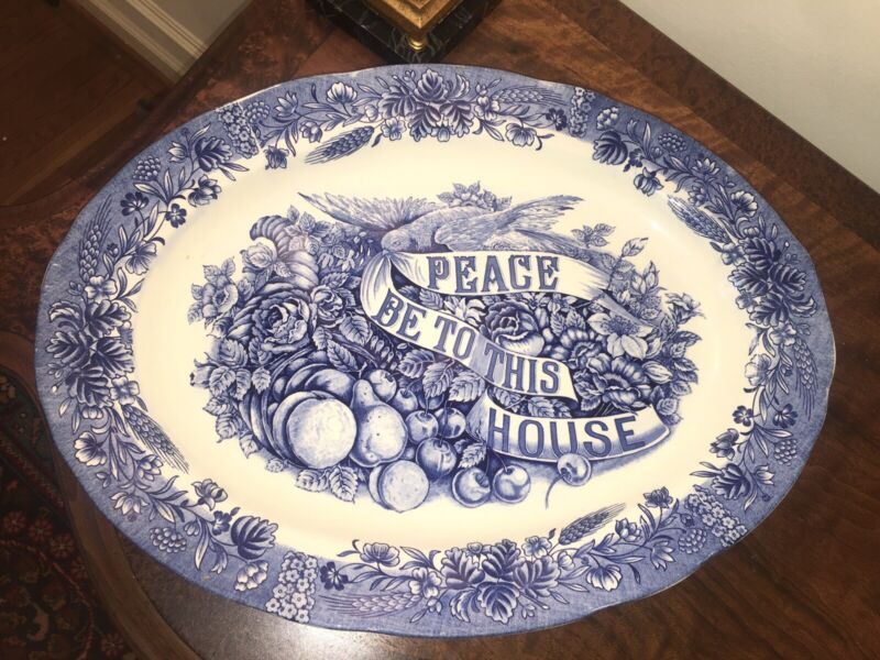 """Currier & Ives """"Peace Be To This House"""" Turkey Platter Blue Transferware 18"""" Exc"""
