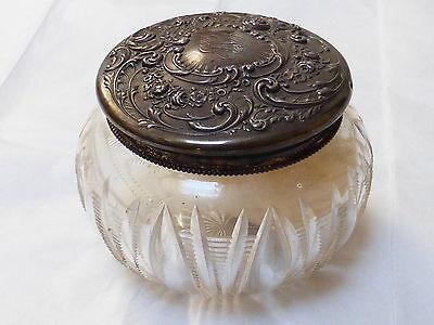 VINTAGE Art Nouveau STERLING SILVER CUT GLASS POWDER JAR