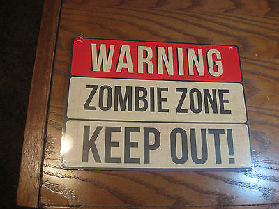 Halloween sign- Two-sided cardboard - WARNING ZOMBIE ZONE KEEP OUT! EAT, DRINK