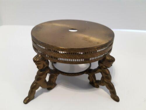 vintage brass lamp base ornate great patina pedestal legs bodies