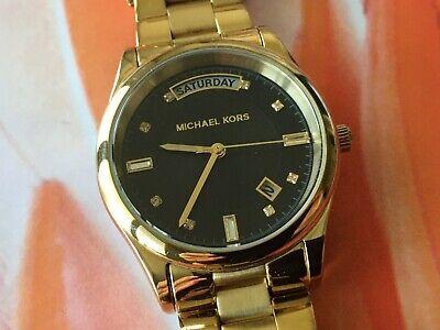 Michael Kors Uhr goldfarben schwarz Wochentagsanzeige Datumsanzeige