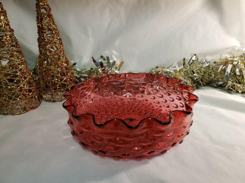 Antique Hobbs Glass Cranberry Centerpiece Bowl
