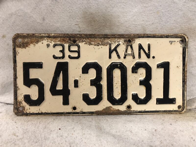 Vintage 1939 Kansas License Plate