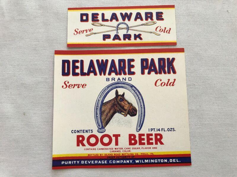 DELAWARE PARK Vintage Root Beer Label, Purity Beverage, Wilmington, Delaware