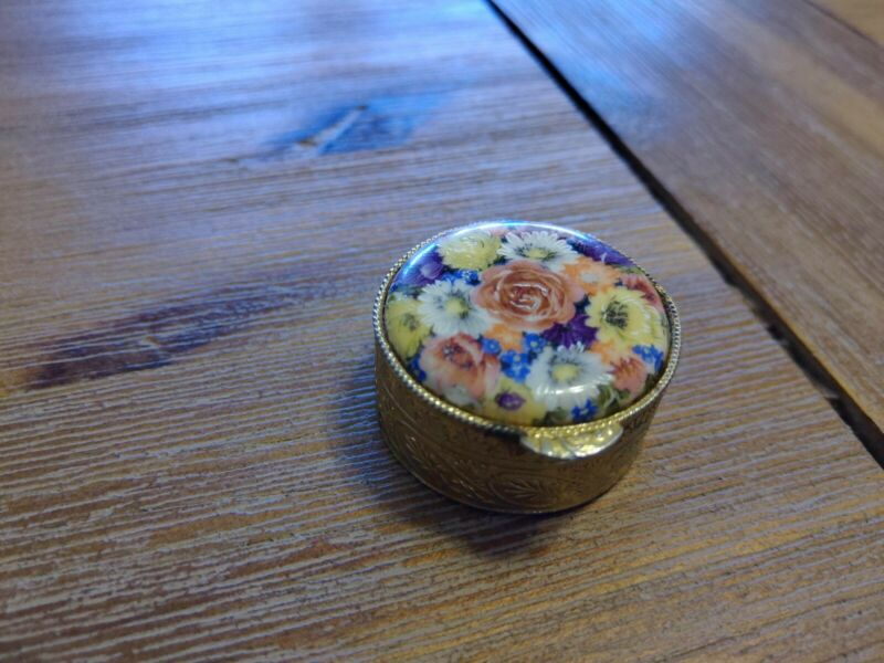 Vintage Brass Porcelain Pill Box Miniature Circle Made in Italy Flowers Floral
