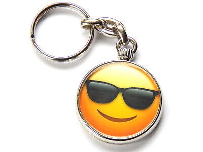 EMOJI FACE COOL SUNGLASSES Emoticon Quality Chrome Keyring Picture Both (Cool Sunglasses Emoticon)
