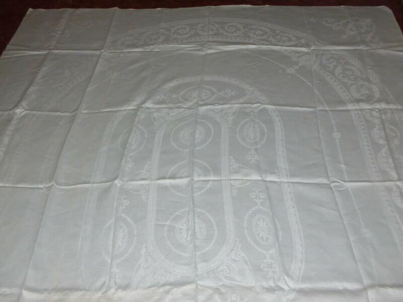 Antique Tablecloth MONOGRAM Linen Double Damask Tablecloth-Scrolls Floral 89x70