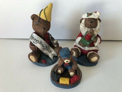 Vintage Christmas New Year TNT Hand Painted Bears - Crushed Pecan Shells