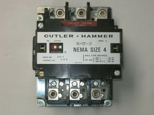 Cutler-Hammer AC Magnetic Contactor  C10FN3AB  Size 4  Open Type