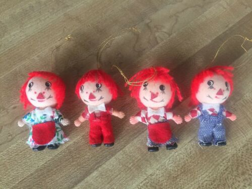"""(4) Vintage Miniature 2-1/4"""" Raggedy Ann and Andy Ornaments"""