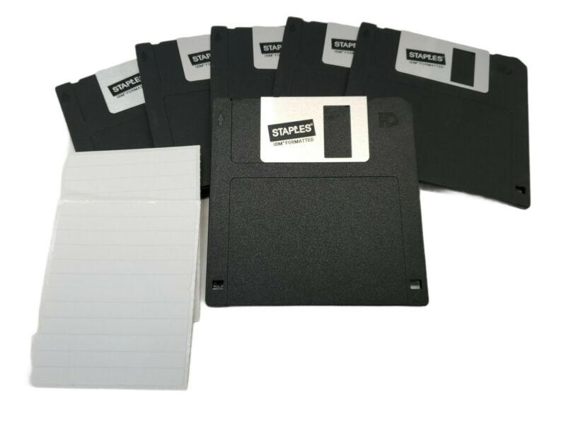 "3.5"" Floppy Disks Diskettes IBM Formatted DS/HD Staples Brand New Lot of 6"