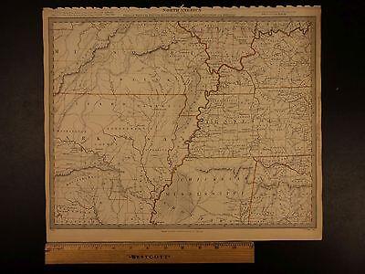 1844 BEAUTIFUL Huge Color MAP of North America Arkansas Tennessee Missouri ATLAS