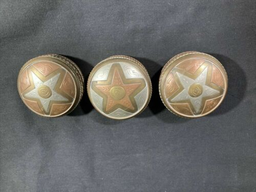 Three Vintage Copper and Brass Round Snuff Box or Powder Box Containers