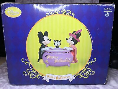 Disney Store Happy Halloween Mickey Minnie and Cat Figaro Candy Dish Large Bowl