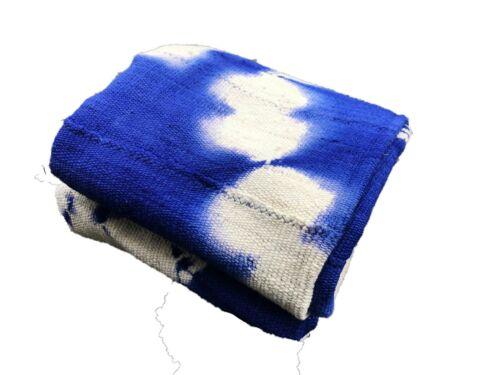 """African Bogolan Textile Mud Cloth Blue & White 40"""" by 62"""""""