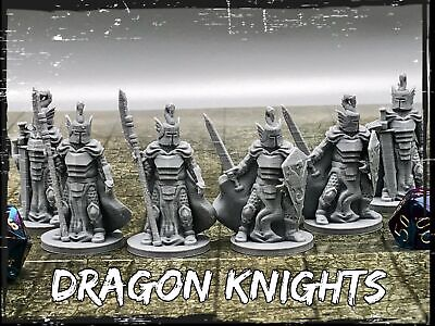 Dragon Knights Set of 6 Miniatures 28mm Dungeons and Dragons DnD -