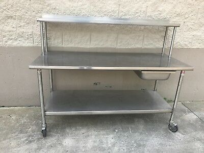 Heavy Duty Stainless Steel Work Table Wover Shelf Restaurant Bakery...