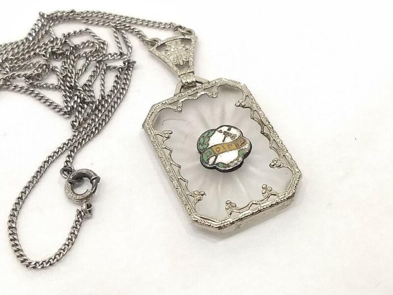 Vintage Camphor Glass Improved Order of Red Men Necklace; Sterling Silver Mark