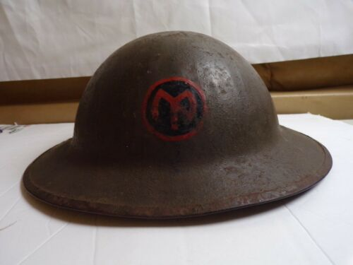 WW-1 BRITISH BRODIE HELMET WITH PERIOD APPLIED 27th INFANTRY DIVISION INSIGNIA.