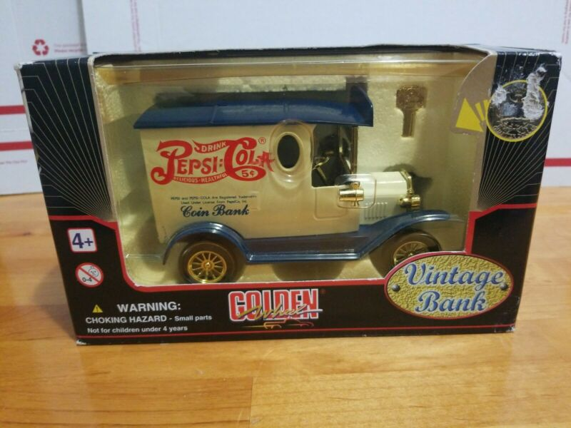 Golden Classic Pepsi Cola Truck Gift Bank Special Edition Diecast Metal Key