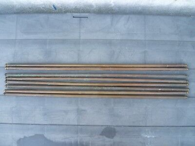 EIGHT ANTIQUE FRENCH, BRASS STAIR RODS WITH SPEAR FINIALS. ANTIQUE STAIR RODS