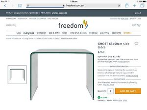 Freedom 'Ghost' tempered glass side table in perfect condition Lane Cove Lane Cove Area Preview