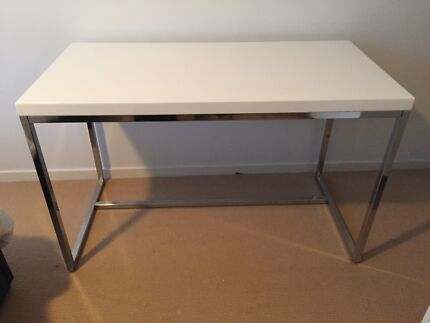 White glossy desk with Stainless Steel Legs Erskineville Inner Sydney Preview
